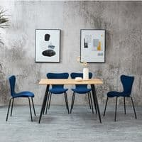 Set of 2 AMELIA Stacking Dining Chairs – Blue & Black